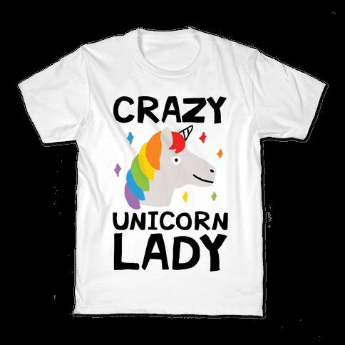 Crazy Unicorn Lady Kids T-Shirt