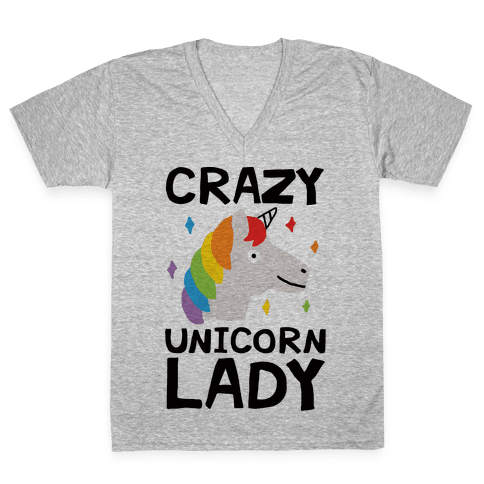 Crazy Unicorn Lady V-Neck Tee Shirt