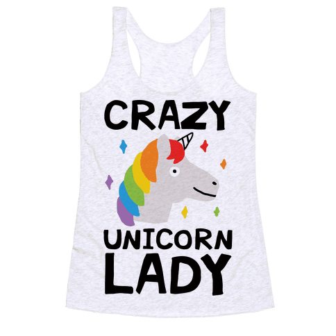 Crazy Unicorn Lady Racerback Tank Top