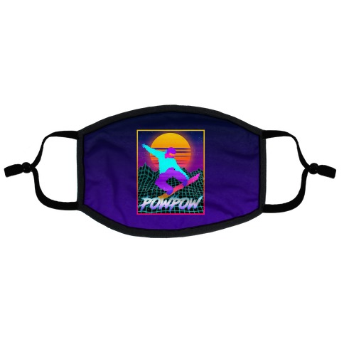 POWPOW Synthwave Snowboarder Flat Face Mask