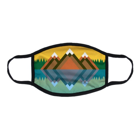 Mountain Lake Landscape Flat Face Mask
