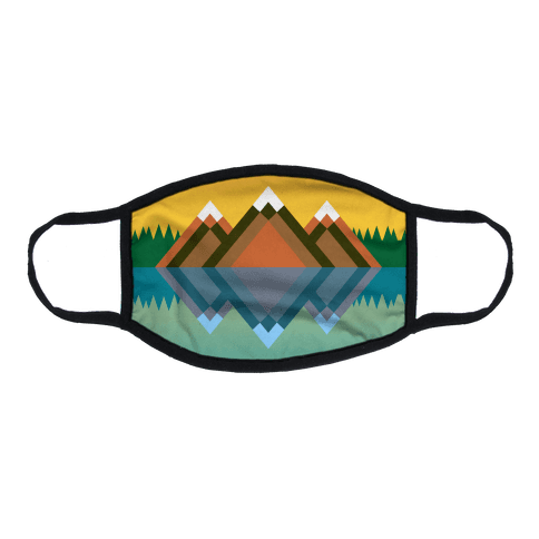 Mountain Lake Landscape Flat Face Mask