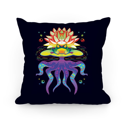 Psychedelic Lily Frog Pillow