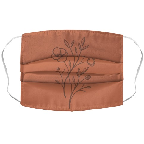 Wildflower Stippled Tattoo Accordion Face Mask