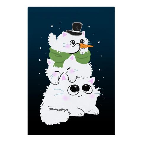 Cat Stack Snowman Garden Flag
