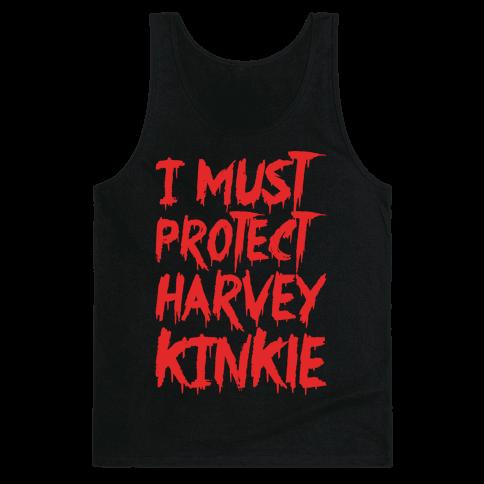 I Must Protect Harvey Kinkle Parody White Print Tank Top