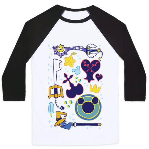 Kingdom Hearts pattern Baseball Tee