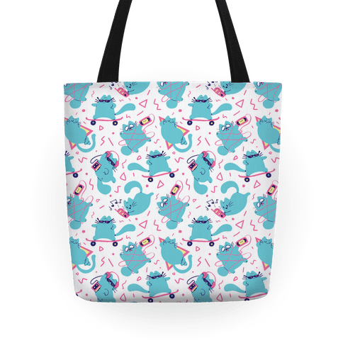 90's Cats Pattern Tote