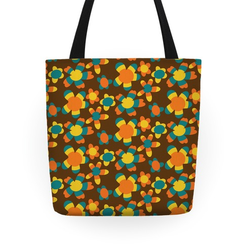 Retro Flower Power Pattern Tote