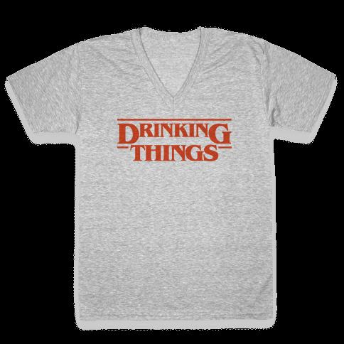 Drinking Things Parody V-Neck Tee Shirt