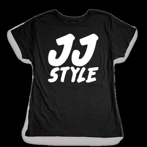 JJ Style White Print  Womens T-Shirt