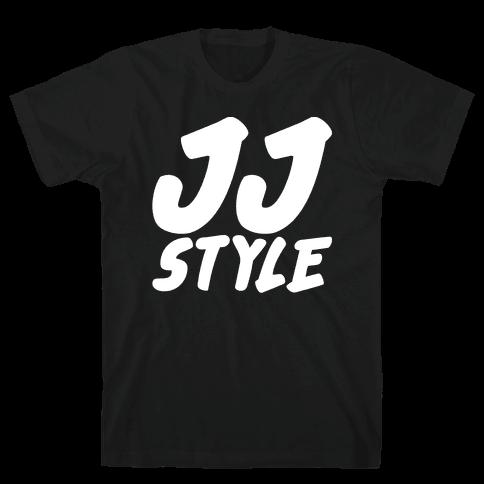 JJ Style White Print  Mens T-Shirt