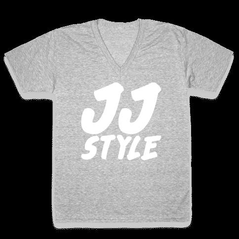 JJ Style White Print  V-Neck Tee Shirt