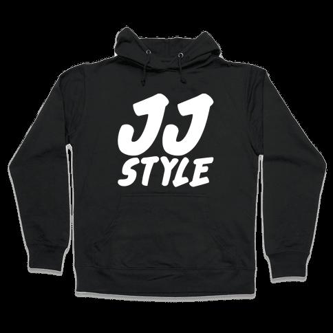 JJ Style White Print  Hooded Sweatshirt