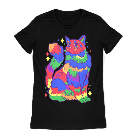 Gay Pride Cat Womens T-Shirt