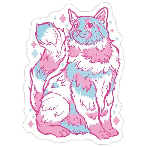 Transgender Pride Cat Die Cut Sticker