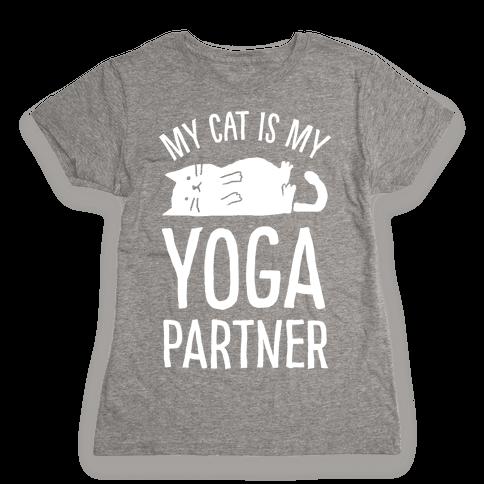 My Cat Is My Yoga Partner Womens T-Shirt