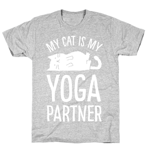 My Cat Is My Yoga Partner Mens T-Shirt