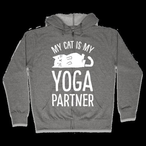 My Cat Is My Yoga Partner Zip Hoodie