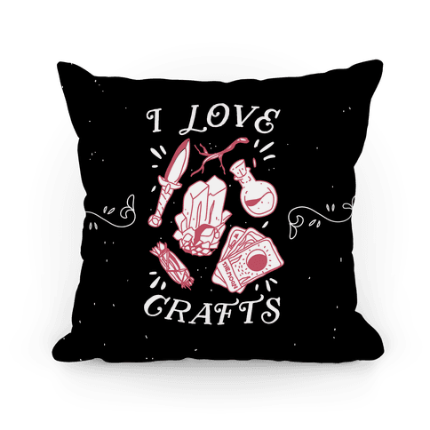 I Love (Witch) Crafts Pillow