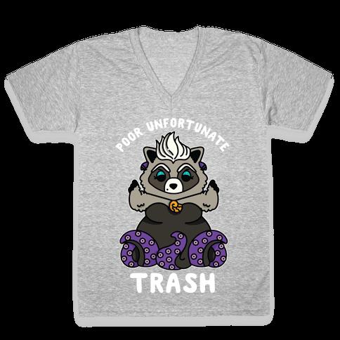 Poor Unfortunate Trash Raccoon  V-Neck Tee Shirt