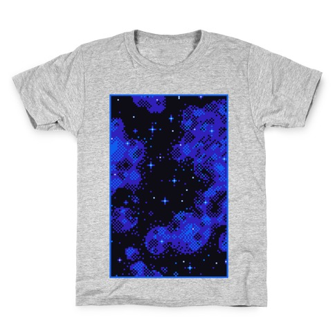 Pixelated Blue Nebula Kids T-Shirt
