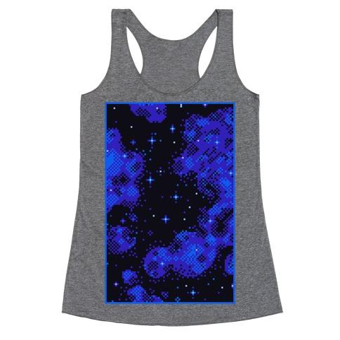 Pixelated Blue Nebula Racerback Tank Top
