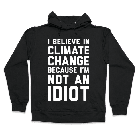 I Believe In Climate Change Because I'm Not An Idiot Hooded Sweatshirt