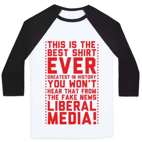 Fake News Liberal Media Baseball Tee