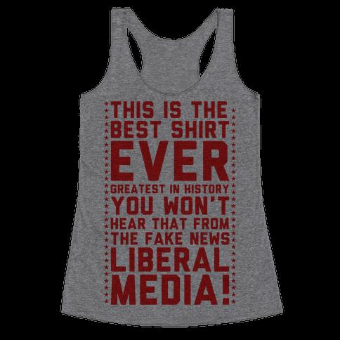 Fake News Liberal Media Racerback Tank Top