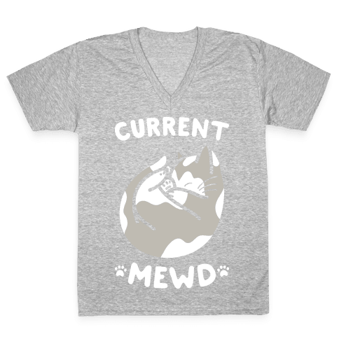 Current Mewd: Catnap (White) V-Neck Tee Shirt