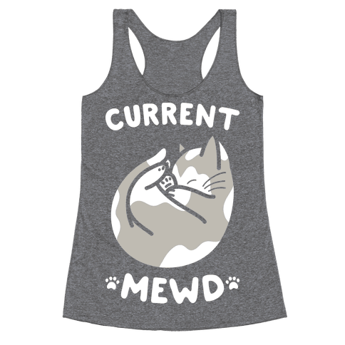 Current Mewd: Catnap (White) Racerback Tank Top
