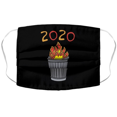 2020 Trash Fire White Print Accordion Face Mask