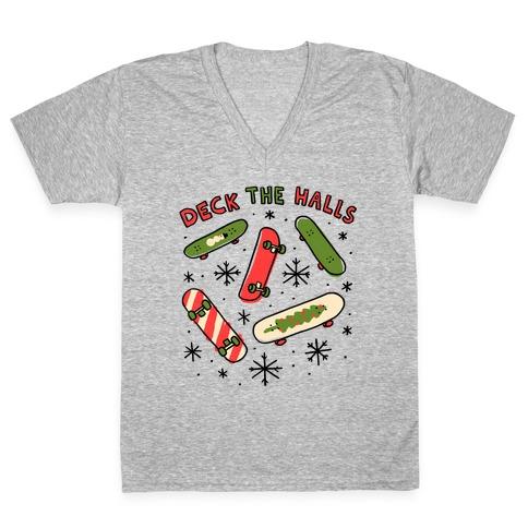 Deck The Halls Skateboarding V-Neck Tee Shirt