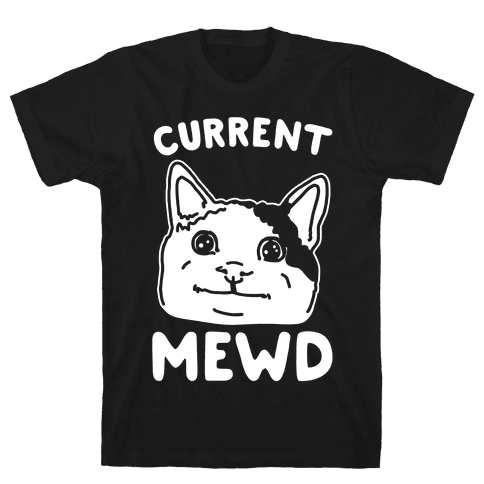 Current Mewd Parody White Print Mens T-Shirt