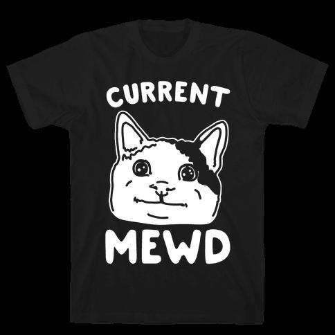 Current Mewd Parody White Print Mens T-Shirt
