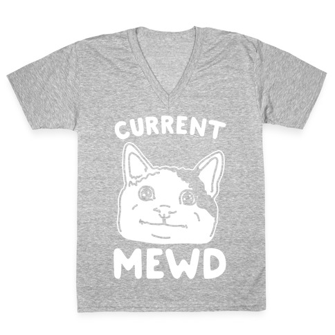 Current Mewd Parody White Print V-Neck Tee Shirt
