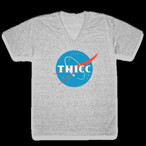 THICC NASA Parody V-Neck Tee Shirt