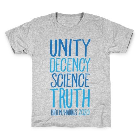 Unity Decency Science Truth Biden Harris 2020 Kids T-Shirt