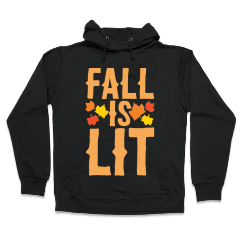 Fall Is Lit White Print Hooded Sweatshirt