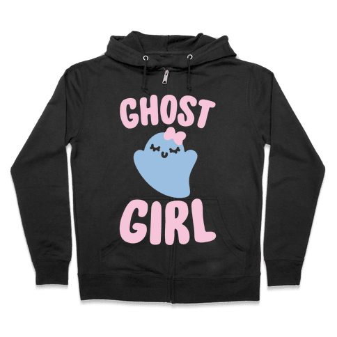 Ghost Girl White Print Zip Hoodie
