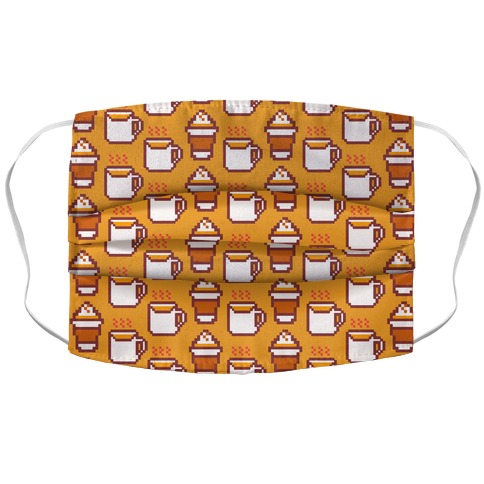 Pumpkin Spice Pixel Pattern Accordion Face Mask