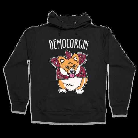 Democorgin Parody White Print Hooded Sweatshirt