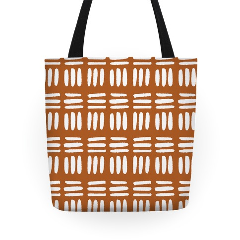 Dashed Lines Rust Boho Pattern Tote