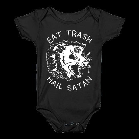 Eat Trash Hail Satan Possum Baby Onesy