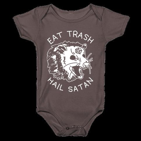Eat Trash Hail Satan Possum Baby One-Piece