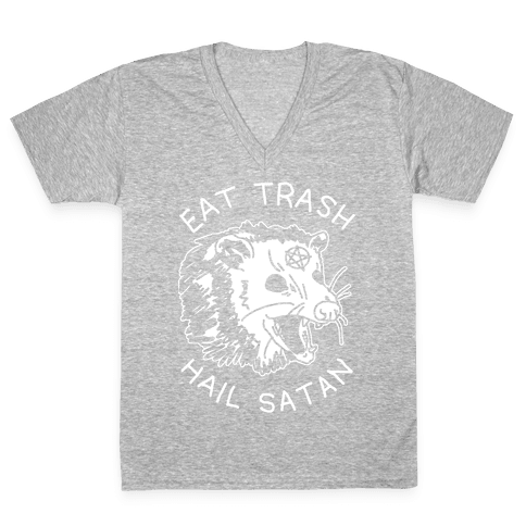 Eat Trash Hail Satan Possum V-Neck Tee Shirt