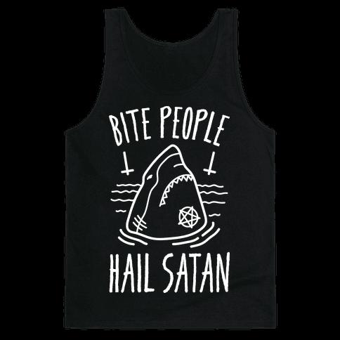 Bite People Hail Satan - Shark (White) Tank Top