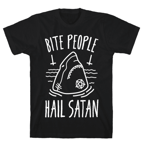 Bite People Hail Satan - Shark (White) Mens T-Shirt
