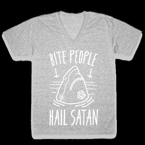 Bite People Hail Satan - Shark (White) V-Neck Tee Shirt
